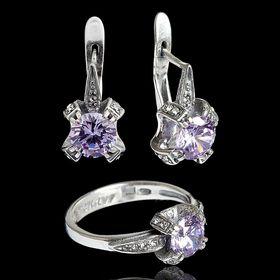 """Гарнитур 2 предмета: серьги, кольцо """"Леди"""", размер 16, цвет фиолетовый в чернёном серебре"""