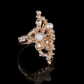 """Кольцо """"Бергамот"""", размер 17, белый в золоте"""