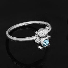 """Кольцо """"Панда"""", размер 16, цвет голубой в чернёном серебре"""