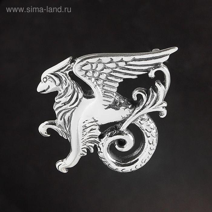 "Брошь ""Вайверн"", чернёное серебро"