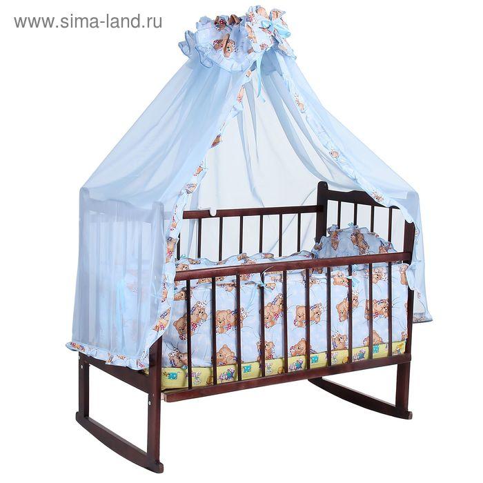 """Комплект в кроватку """"Спящий мишка"""" (2 предмета), цвет голубой (арт. 1512)"""