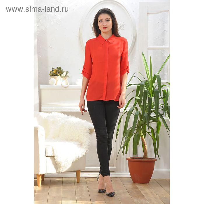 Блуза, размер 52, рост 164 см, цвет красный (арт. 4887)