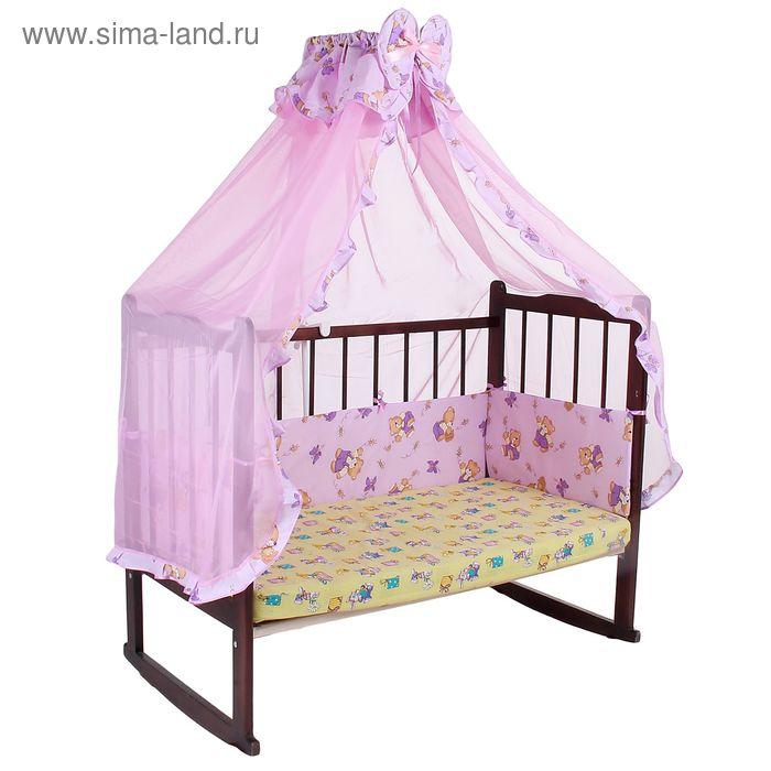 """Комплект в кроватку """"Мишки с мёдом"""" (2 предмета), цвет фиолетовый (арт. 1542)"""
