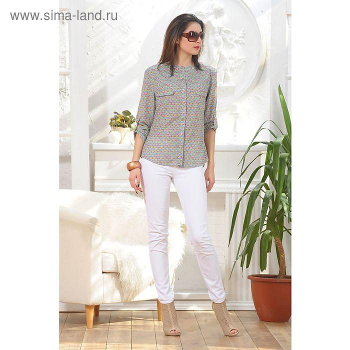 Блуза, размер 52, рост 164 см, цвет красный/зелёный/жёлтый (арт. 4885 С+)