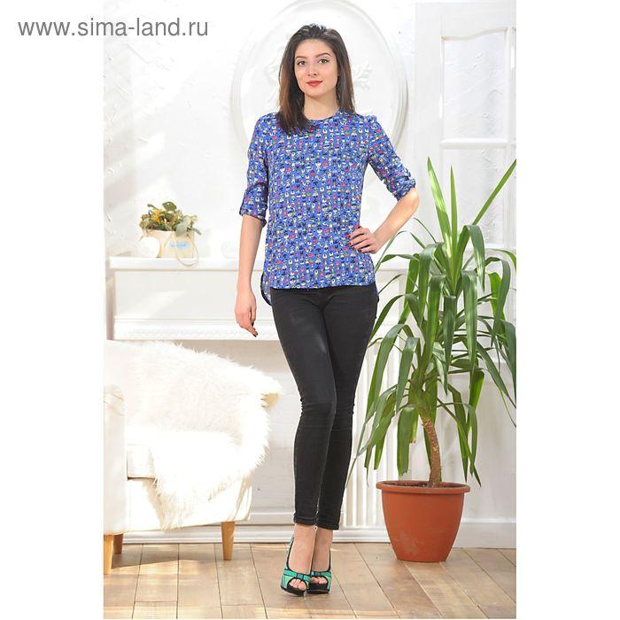 Блуза, размер 48, рост 164 см, цвет синий/жёлтый (арт. 4888)