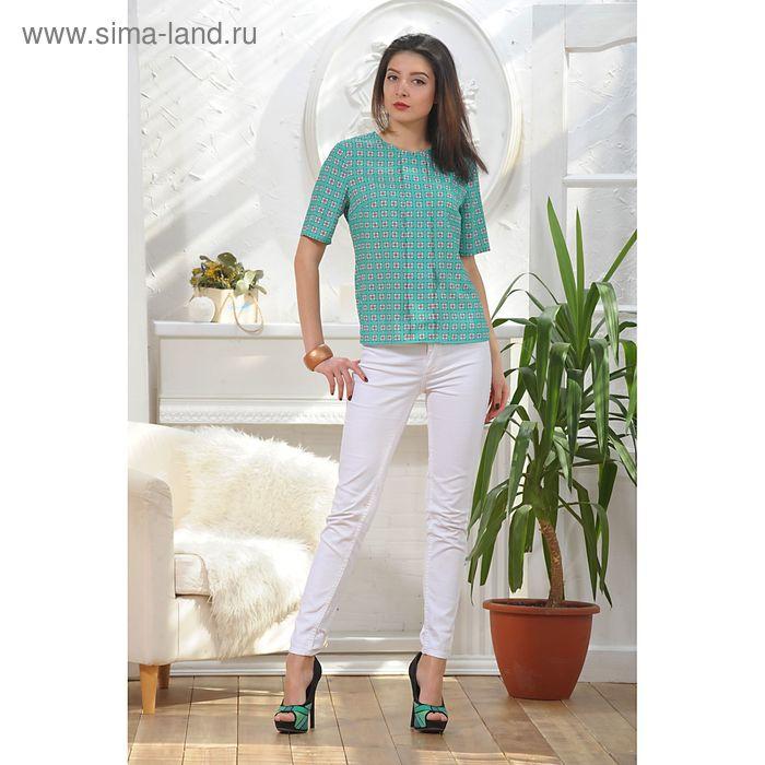 Блуза, размер 44, рост 164 см, цвет зелёный/белый/красный (арт. 4886)