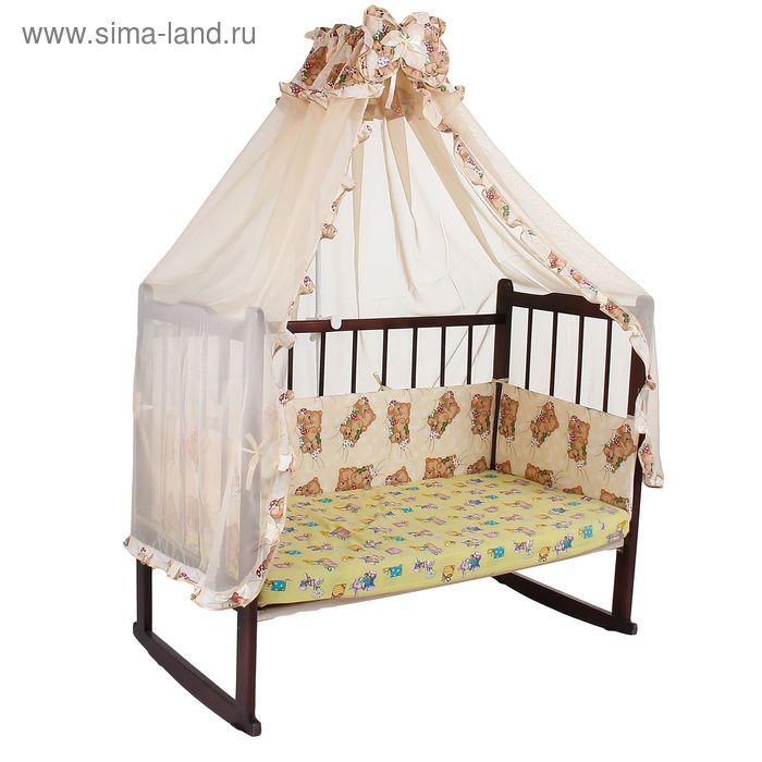 """Комплект в кроватку """"Спящие мишки"""" (2 предмета), цвет бежевый (арт. 1542)"""