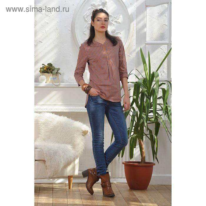 Блуза, размер 48, рост 164 см, цвет оранжевый/синий (арт. 4889)