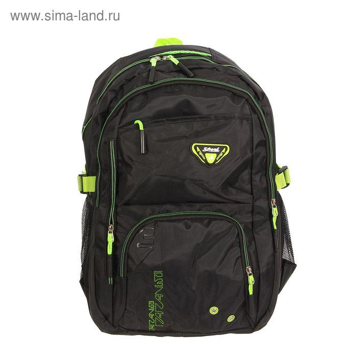 """Рюкзак туристический """"Тони"""", 2 отдела, 3 наружных кармана, усиленная спинка, объём - 22л, чёрный/зелёный"""