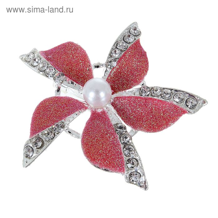 """Брошь """"Цветок"""", пятилистник, цвет красно-белый в серебре"""