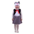 """Карнавальный костюм """"Кошечка"""", велюр, сарафан с рюшей, шапочка, от 1,5-3-х лет, рост 98 см"""