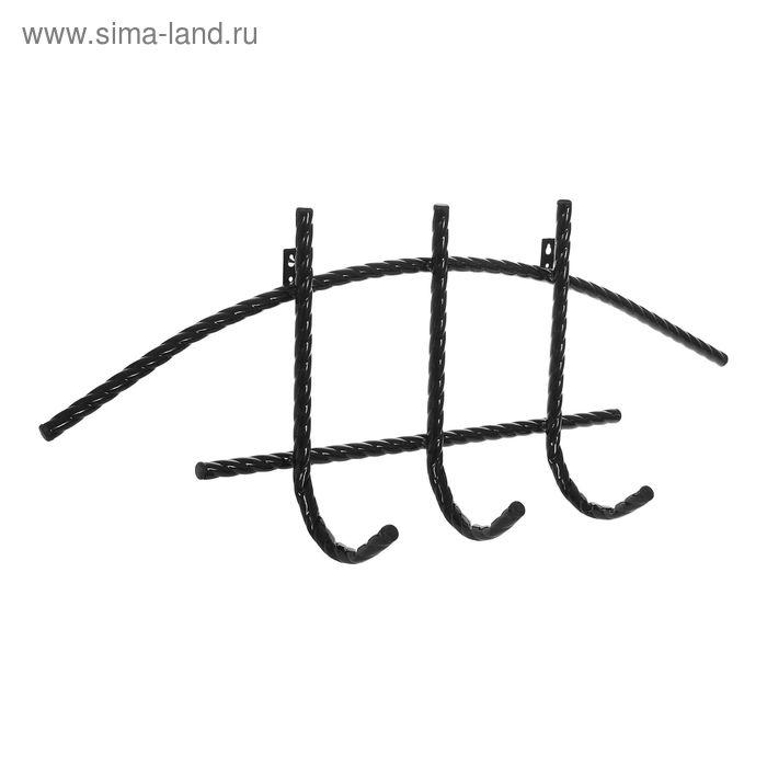 """Вешалка настенная """"3 крючка"""", цвет черный"""