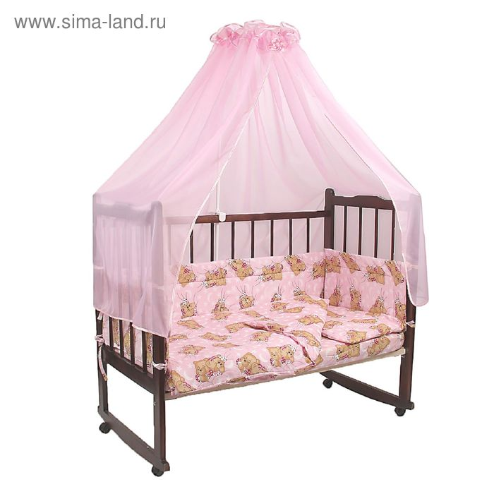 """Комплект в кроватку """"Сони"""" (7 предметов), цвет розовый (арт. 10704)"""