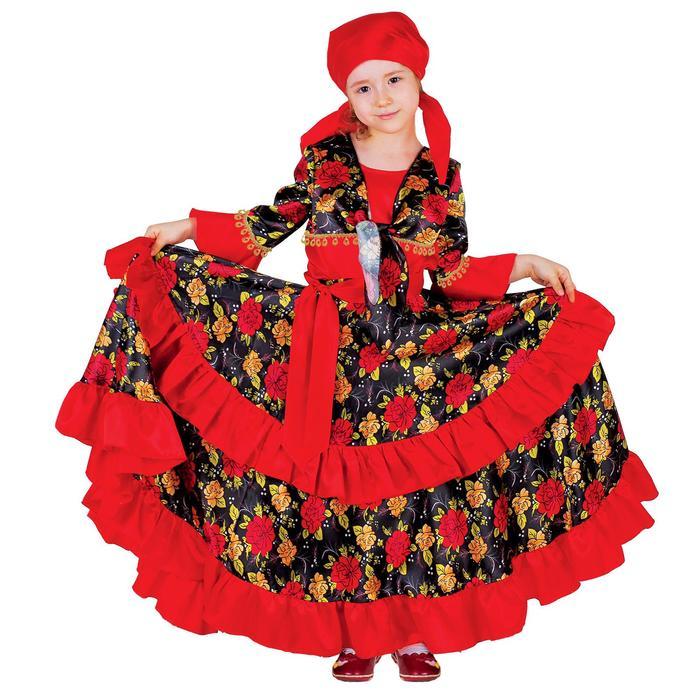"""Карнавальный костюм """"Цыганка"""", косынка, блузка, юбка, пояс, цвет красный, обхват груди 64 см, рост 122 см"""