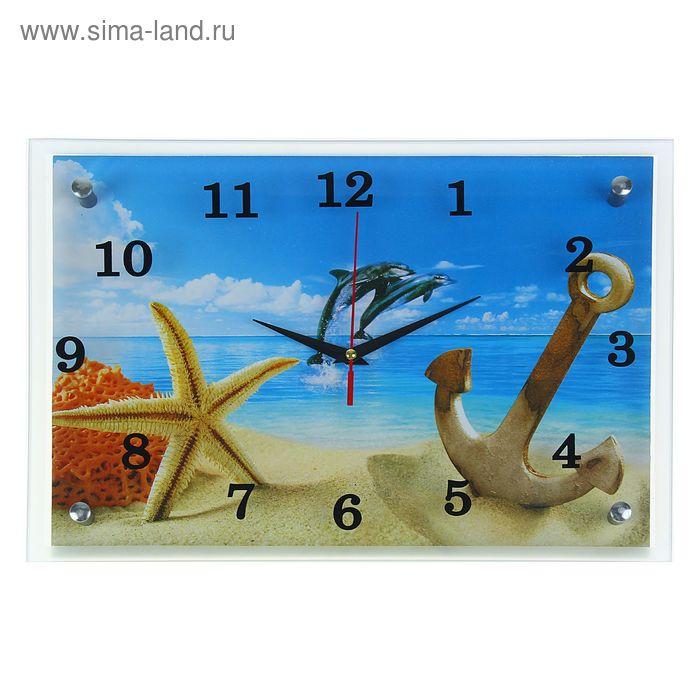 """Часы настенные прямоугольные """"Якорь, звезда и дельфины"""", 25х35 см"""