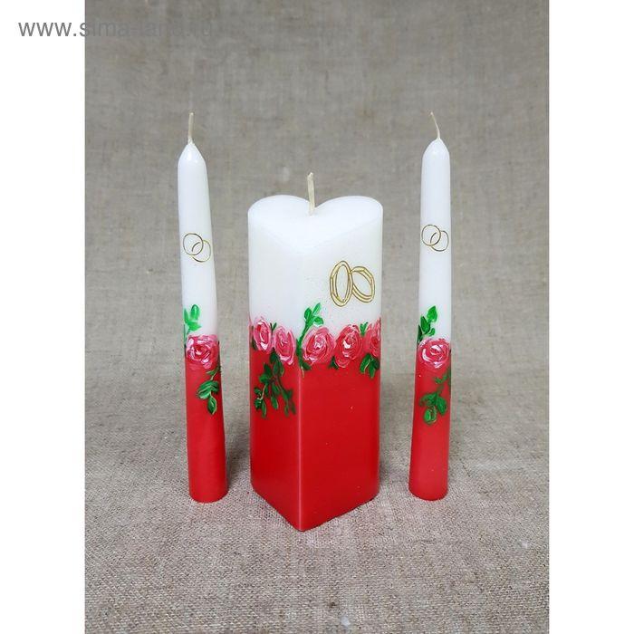 """Набор свечей """"Свадебный"""" №7 Сердце, цвет красный,  с  розами, ручная работа"""