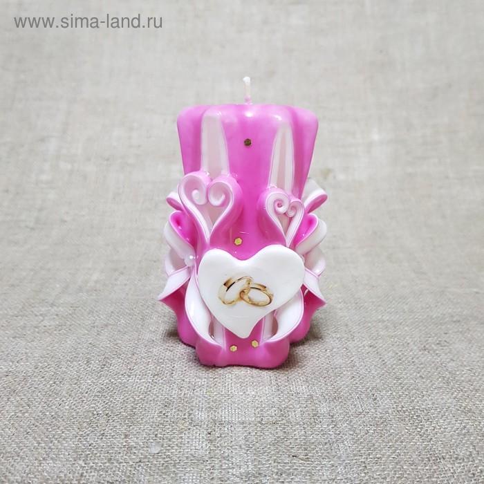 """Свеча резная 10-11см""""Свадебная"""" Бело-розовая, ручная работа"""