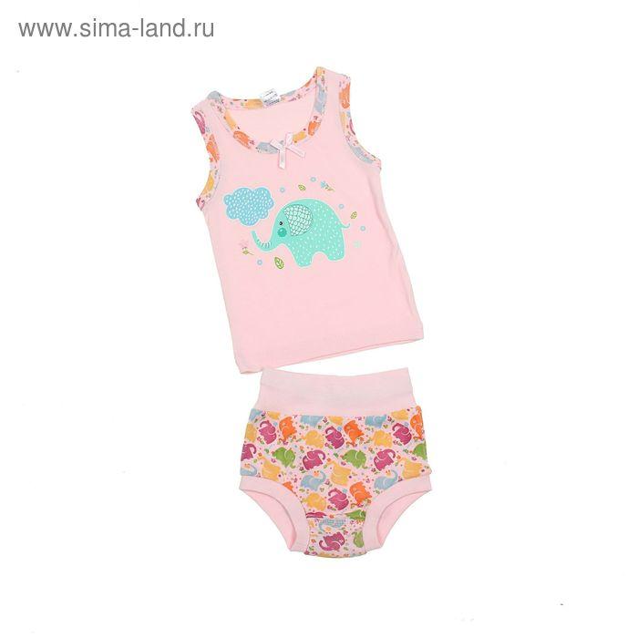 Комплект для девочки (майка с плечом, трусы), рост 62 см (40), цвет светло-розовый (арт. 312)
