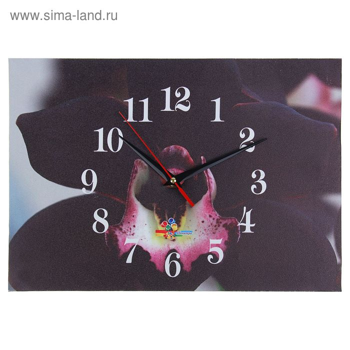 """Часы настенные прямоугольные """"Черный цветок"""", 25х35 см"""