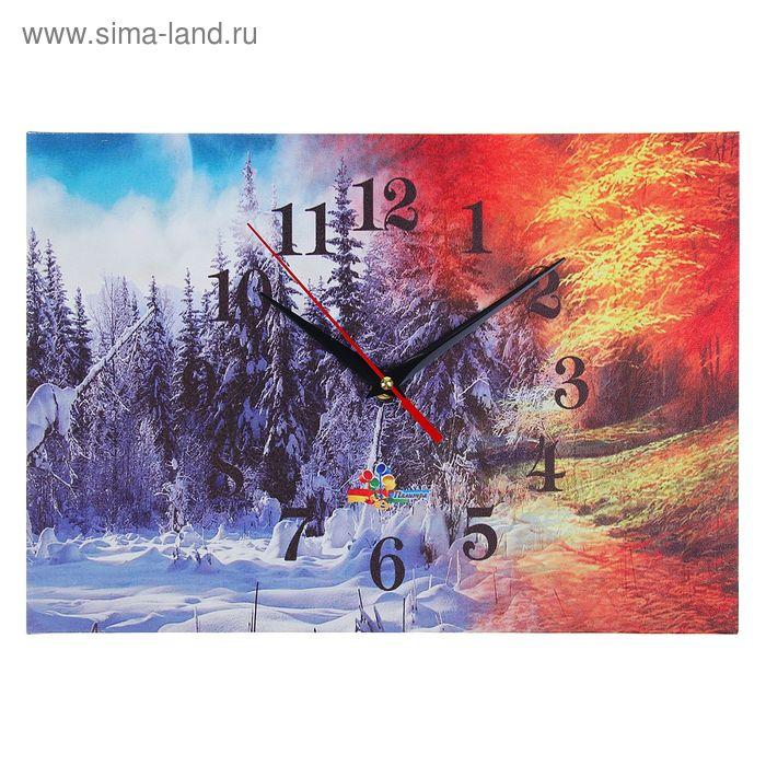 """Часы настенные прямоугольные """"Зима-весна"""", 25х35 см"""