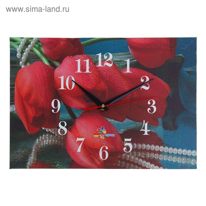 """Часы настенные прямоугольные """"Красные тюльпаны"""", 25х35 см"""