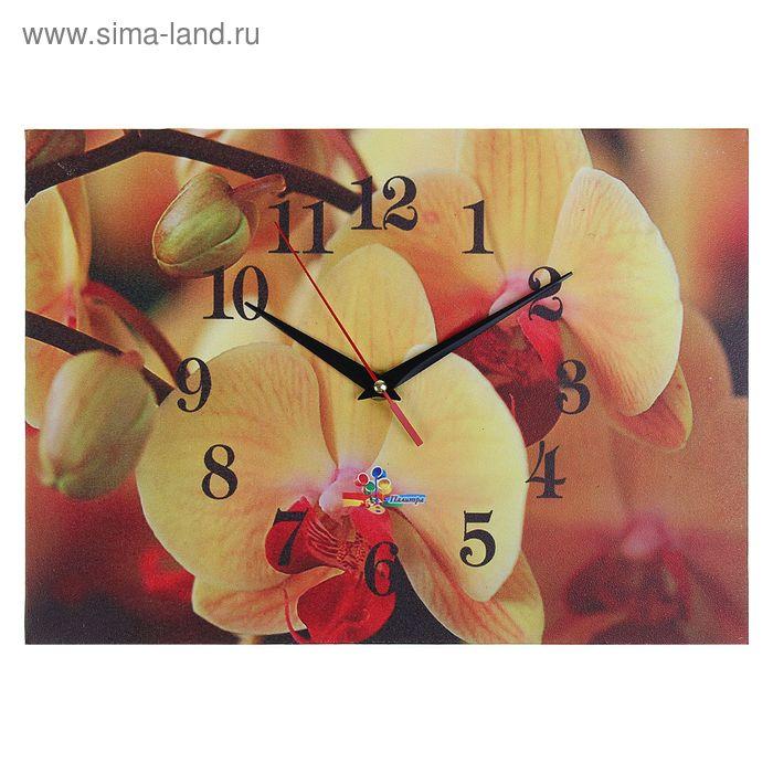 """Часы настенные прямоугольные """"Желтые орхидеи"""", 25х35 см"""