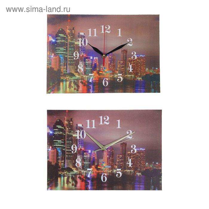 """Часы настенные прямоугольные """"Ночной город"""", 25х35 см микс"""