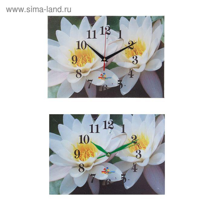 """Часы настенные прямоугольные """"Белые цветы"""", 25х35 см микс"""
