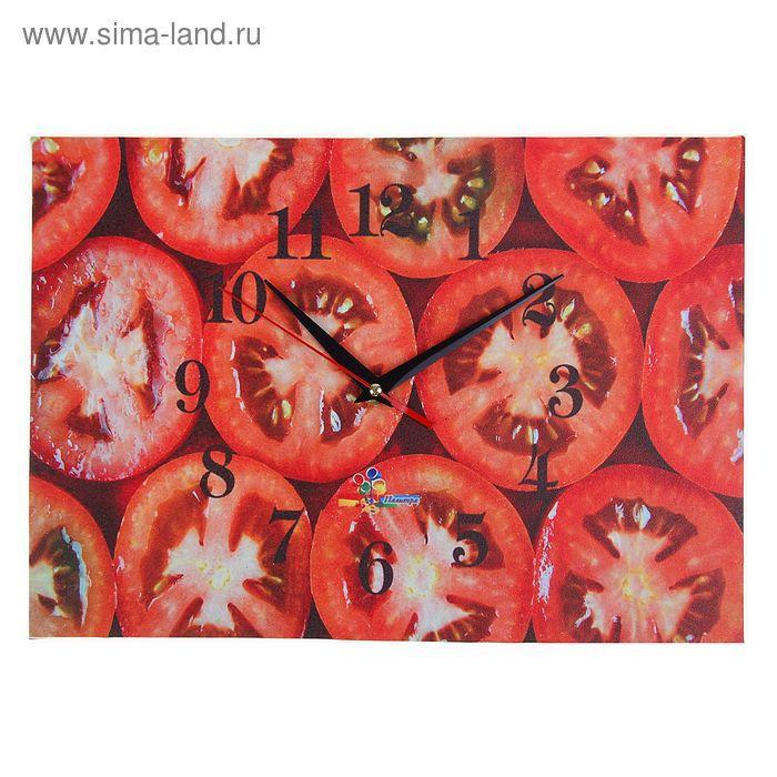 """Часы настенные прямоугольные """"Помидорные дольки"""", 25х35 см"""