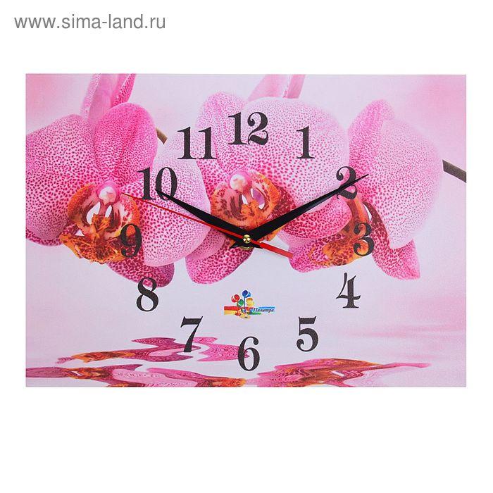 """Часы настенные прямоугольные """"Орхидеи и вода"""", 25х35 см"""
