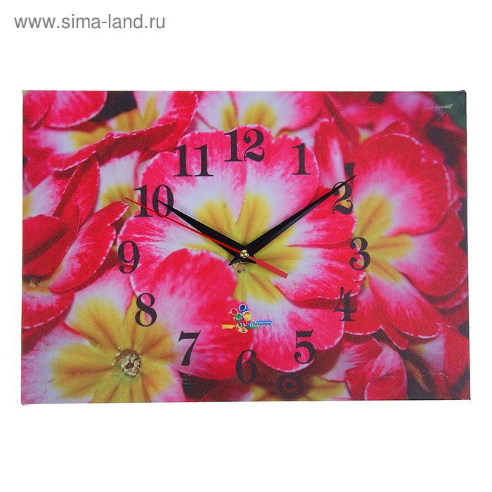 "Часы настенные прямоугольные ""Разноцветные цветы"", 25х35 см"