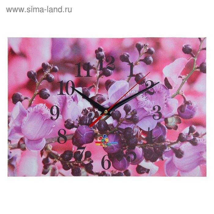 """Часы настенные прямоугольные """"Фиолетовая веточка"""", 25х35 см"""
