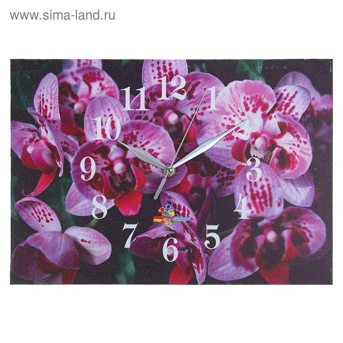 """Часы настенные прямоугольные """"Орхидеи"""", 25х35 см"""