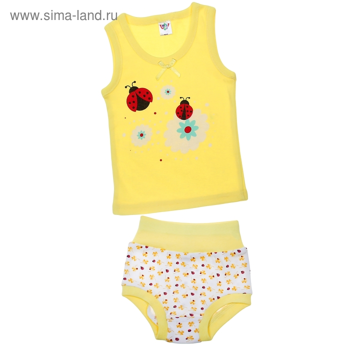 Комплект для девочки (майка с плечом, трусы), рост 74 см (48), цвет жёлтый (арт. 311)
