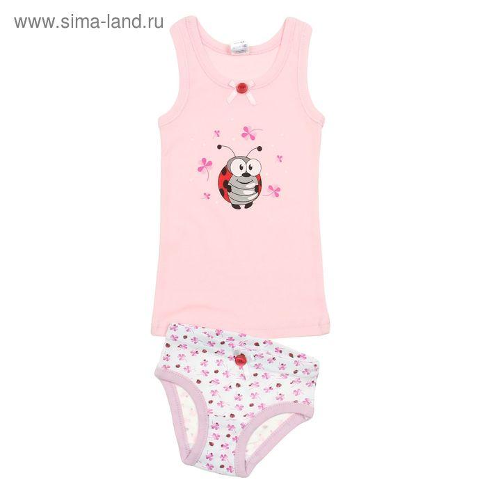 Комплект для девочки (майка с плечом, трусы), рост 92 см (52), цвет светло-розовый (арт. 314)