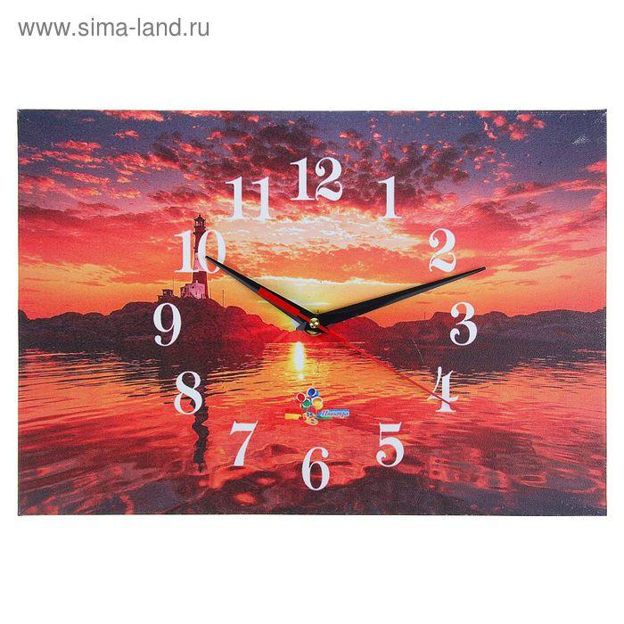 "Часы настенные прямоугольные ""Морской закат"", 25х35 см"