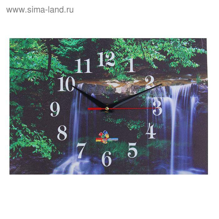"""Часы настенные прямоугольные """"Лесной водопад"""", 25х35 см"""