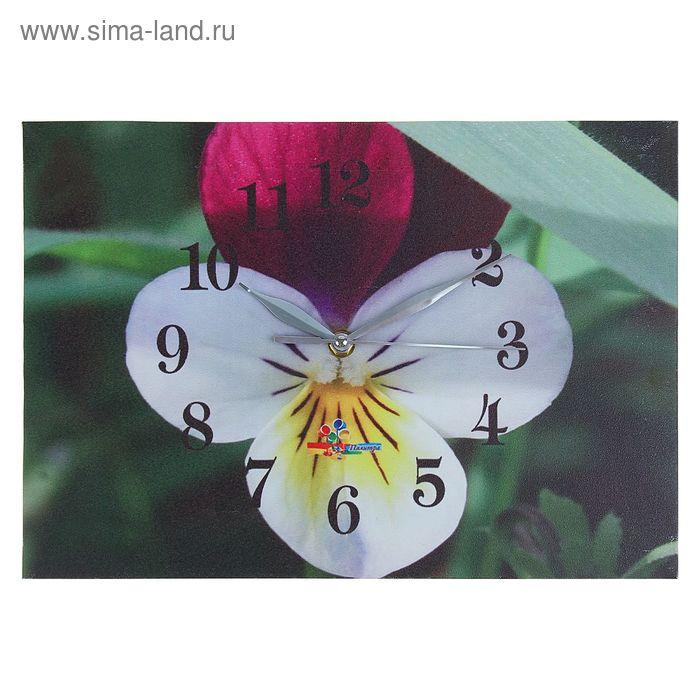 """Часы настенные прямоугольные """"Бело-фиолетовый цветок"""", 25х35 см"""