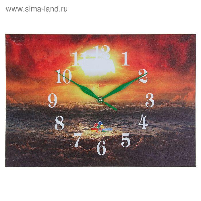 """Часы настенные прямоугольные """"Морской пейзаж"""", 25х35 см"""