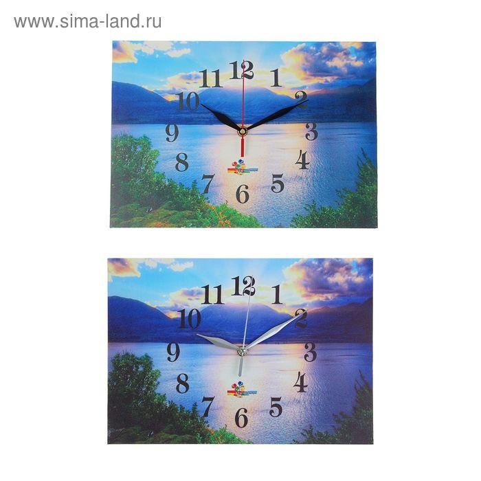 """Часы настенные прямоугольные """"Рассвет у горного озера"""", 25х35 см микс"""
