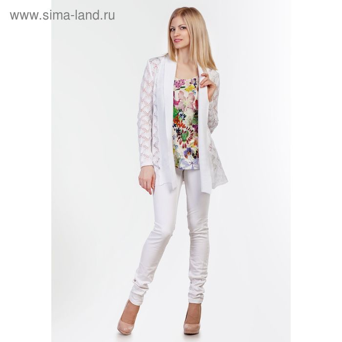 Кардиган женский 3394, цвет белый, рост 168-170, размер 44