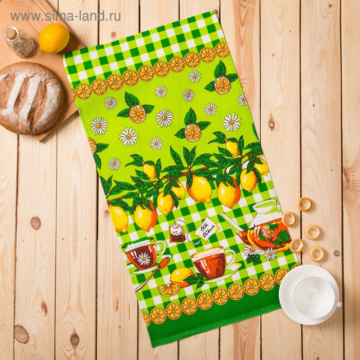 "Полотенце вафельное ""Лимоны"", размер 40х75 см, цвет зелёный"