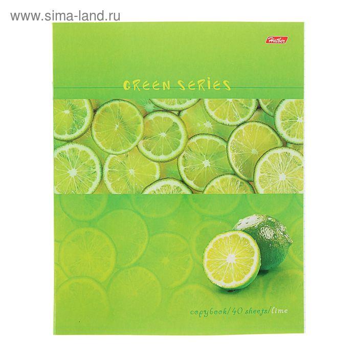 Тетрадь 40 листов клетка Green, картонная обложка, МИКС