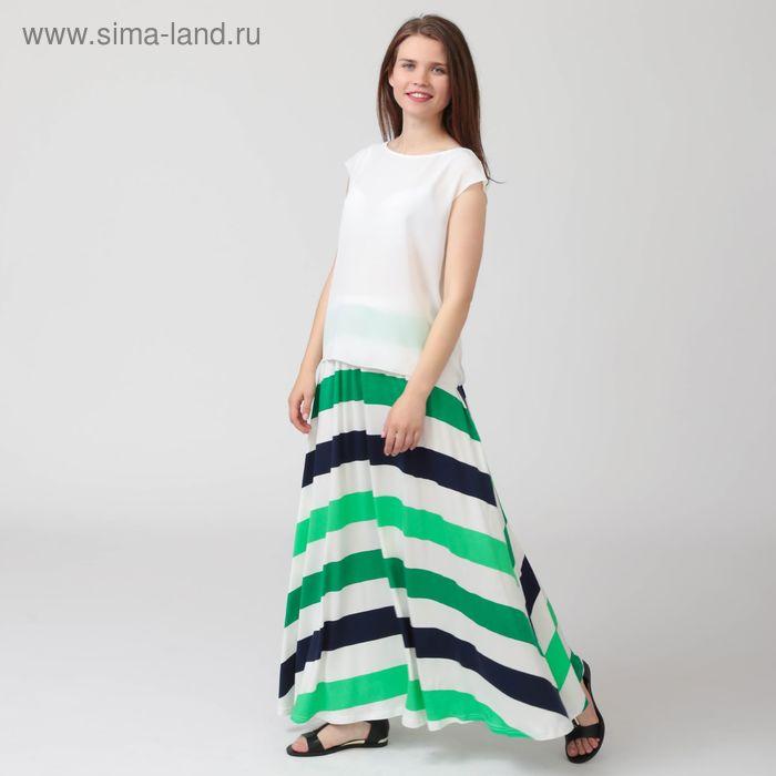 Юбка женская, цвет сине-зелёная полоска, размер 52, рост 170 см (арт. Y0105-0152 С+ new)