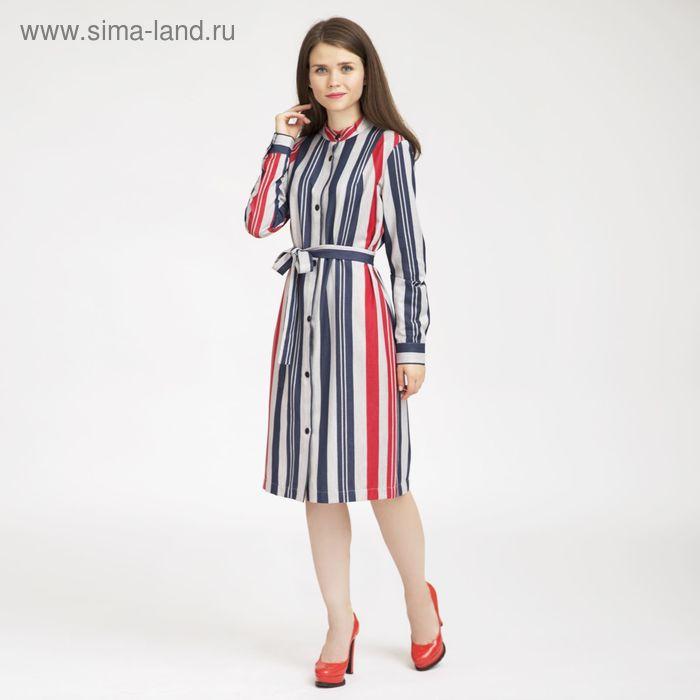 Платье женское, сине-красная полоска, размер 50, рост 170 см (арт. Y4399-0106 С+ new)