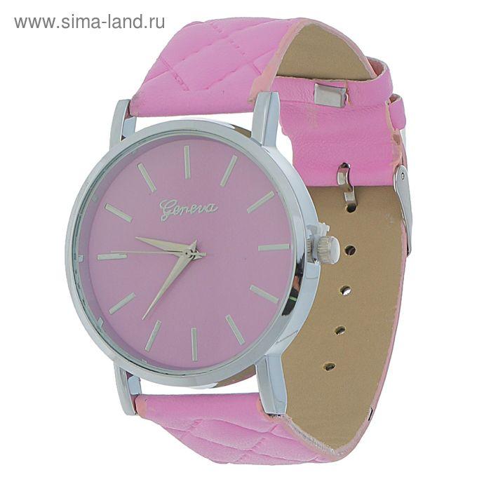 Часы наручные женские Женева простеганный, ремешок розовый
