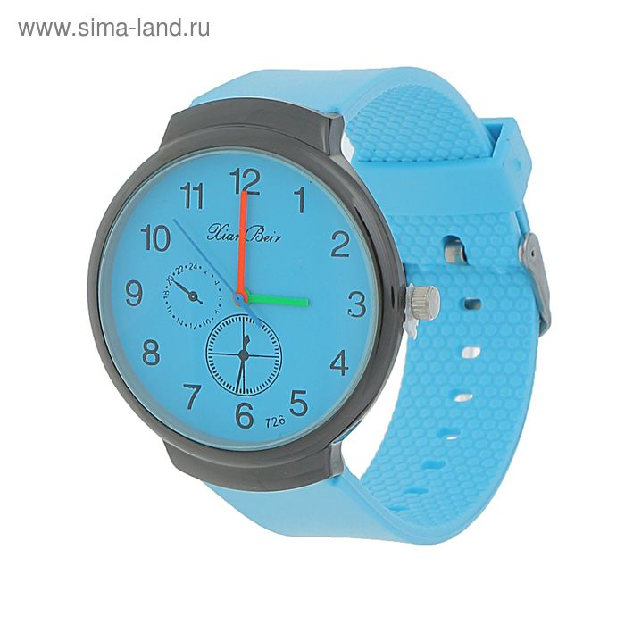 Часы наручные жен ХianВeir, цветные стрелки, ремешок силикон голубой