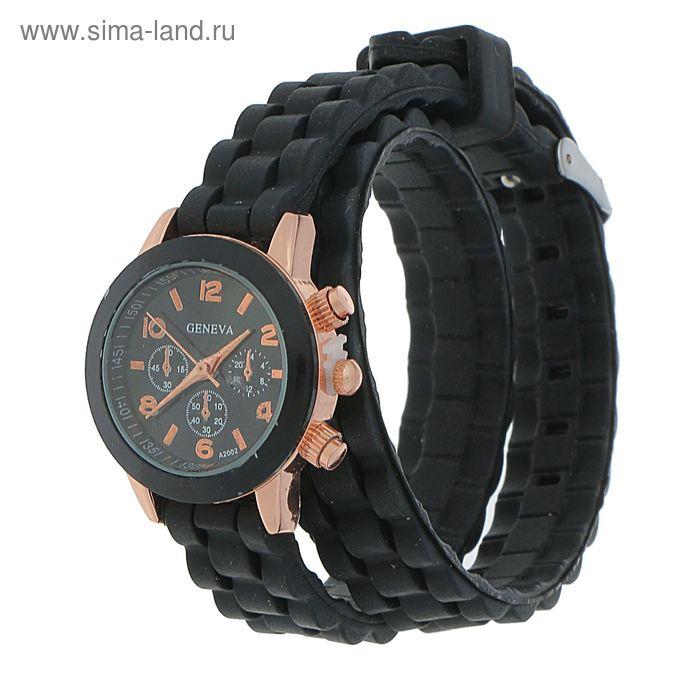Часы наручные женские, 4 циферблата, силиконовый ремешок 2 оборота черный