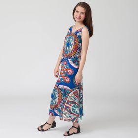 Платье женское, цветной принт, размер 52, рост 170 см (арт. Y1359-0102 С+)
