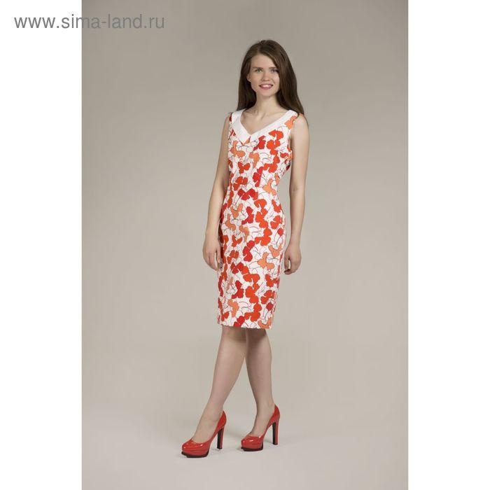 Платье женское Y6325-0083, цвет красно оранжевые цветы, размер48/170
